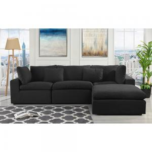 Modern 3 Seater Configurable Reversible Sectional Sofa with Ottoman