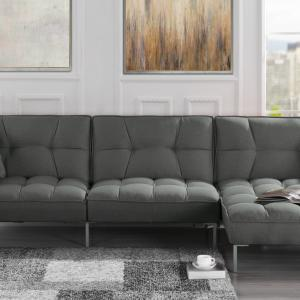 Mobilis Modern Square Tufted Linen Fabric Sectional Sofa Futon with Reversible Chaise, Dark Grey