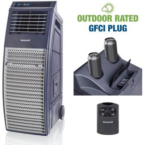 Honeywell 830-1000 CFM Outdoor Portable Evaporative Cooler with Powerful High Pressure Blower for Large Spaces, CO301PC, Gray