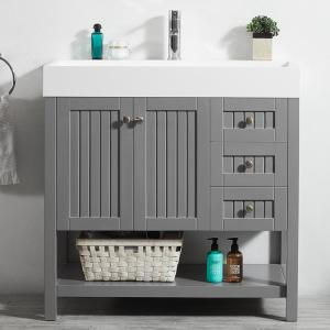 Pavia 36 Inch Single Vanity in Grey with Acrylic under-mount Sink with Mirror without Mirror