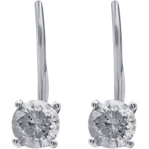 1.00 Carat T.W. Round Diamond 14kt White Gold Leverback Stud Earrings, IGL Certified, Comes in a Box