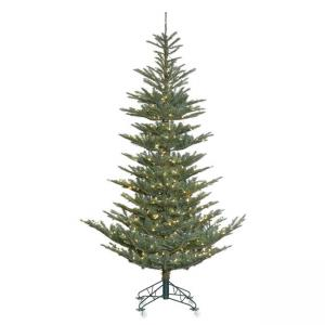 Vickerman 9′ Alberta Blue Spruce Artificial Christmas Tree with 650 Warm White LED Lights
