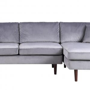Mobilis Mid-Century Modern Brush Microfiber L-Shape Sofa with Extra Wide Chaise Lounge, Gray