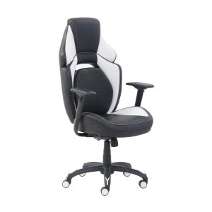 True Innovations High Back Gaming Office Chair with LED lining, Black/White