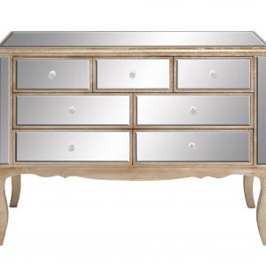 DecMode Wood Glam Chest Mirrored with Handles, Tan, 44″W