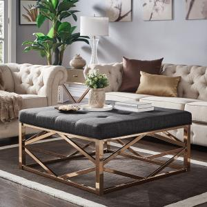 Weston Home Libby Dimpled Tufted Cushion Ottoman Coffee Table with Champagne Geometric Gold Base, Dark Gray Linen