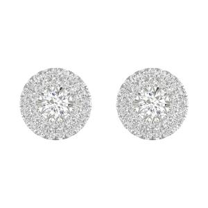 IGI Certified Imperial 1 Ct TDW Diamond 10k White Gold Halo Stud Earrings (H-I, I2)