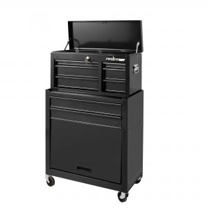 Frontier 24-inch 5 drawer tool chest organizer combo. Includes top and bottom chest