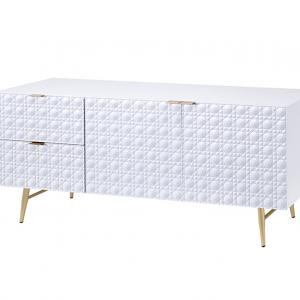 ACME Maisey II TV Console in White & Gold