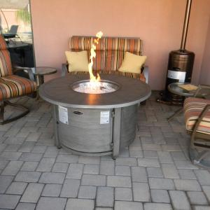AZ Patio Heaters Cast Aluminum Round Fire Pit in Brushed Wood Finish