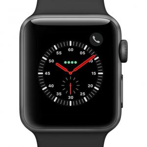 Apple Watch Series 3 GPS + Cellular – 38mm – Sport Band – Aluminum Case -Space Gray/Black