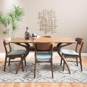 Noble House Harper Natural Walnut Wood Mint 5 Piece Dining Set
