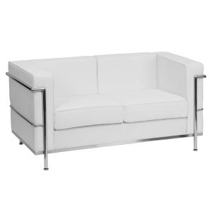 Flash Furniture HERCULES Regal Series Contemporary Melrose White LeatherSoft Loveseat with Encasing Frame