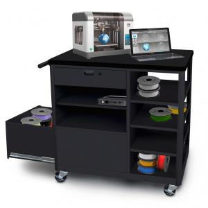 Steel 3D Printer Cart with Storage Drawer Four Side Shelves