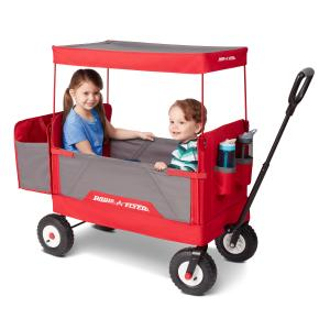 Radio Flyer, 3-in-1 all-terrain EZ Fold Wagon with Canopy, Red and Gray