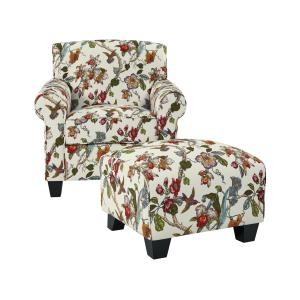 Homesvale Ward Chair and Ottoman in Cream Multi Floral with birds