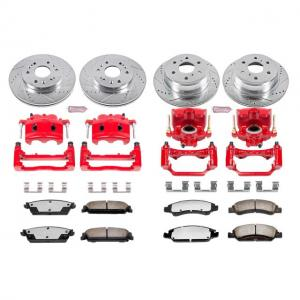 Power Stop Front and Rear Z36 Truck & Tow Brake Kit with Red Powder Coated Calipers KC2070-36