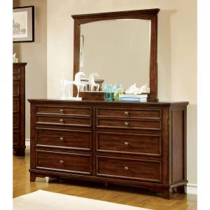 Furniture of America Kaile 2-Piece Dresser and Mirror Set, Cherry