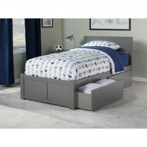 Orlando Platform Bed with Flat Panel Foot Board and 2 Urban Bed Drawers, Multiple Colors, Multiple Sizes