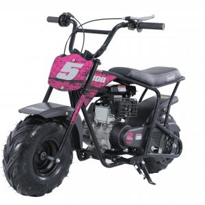 Coleman Powersports 100cc Gas Powered Ride-On Mini Bike -Pink & Red Decals