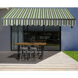 ALEKO 16'x10′ Retractable Motorized Black Frame Patio Awning, Multi Striped Green Color