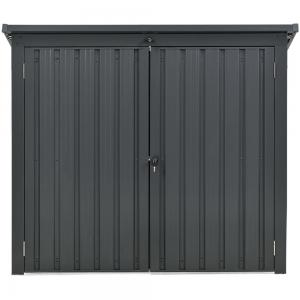 Hanover Galvanized Steel Trash and Recyclables Storage Shed with 2-Point Locking System, Dark Gray
