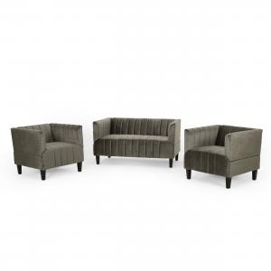 Noble House Dean Contemporary Channel Stitch Velvet Settee and Club Chair Set, Gray