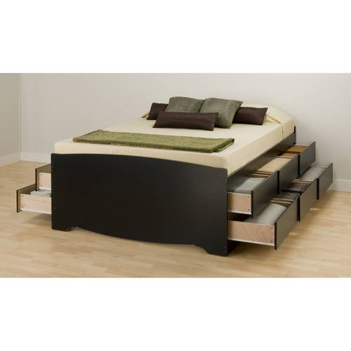 Black Tall Queen Captain?s Platform Storage Bed with 12 Drawers