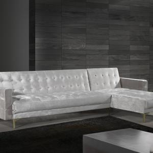 Chic Home Kiefer Velvet Right Facing Convertible Sectional Sofa Bed