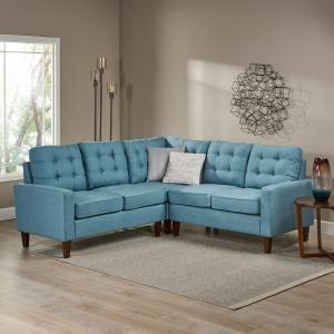 Noble House Mid Century Modern 3 Piece Sectional Sofa,Blue