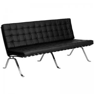 Flash Furniture HERCULES Flash Series Black LeatherSoft Sofa with Curved Legs