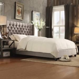 Weston Home Melford Wingback Tufted Platform Queen Bed, Light Gray