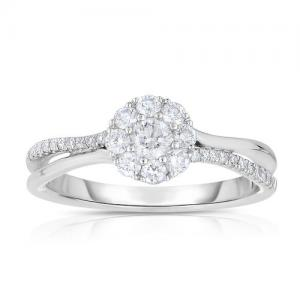 1/2 Carat T.W. Round-Cut Diamond 14kt White Gold Halo Engagement Ring