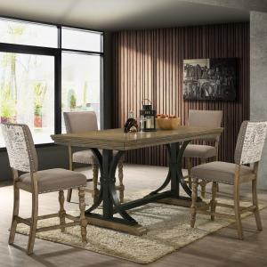 Birmingham 5-piece Driftwood Finish Table with Nail Head Chairs Counter Height Dining Set