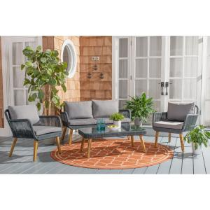 Safavieh Aldric Outdoor 4 Piece Conversational Set – Grey
