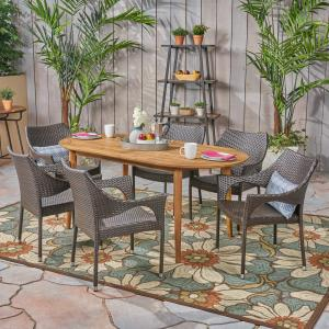 Mike Outdoor 7 Piece Acacia Wood Dining Set with Stacking Wicker Chairs, Teak, Multi Brown