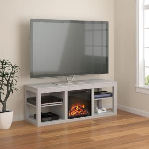 Ameriwood Home Parsons Electric Fireplace TV Stand for TVs up to 65″ Dove Gray