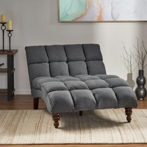 Noble House Havik Traditional Tufted Fabric Double Chaise, Dark Grey