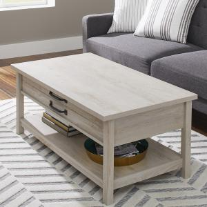 Better Homes & Gardens Modern Farmhouse Lift Top Coffee Table, Rustic White Finish