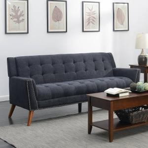 Kendall Colletion Upholstered Mid-Century Tufted Sofa, Grey