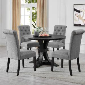 Siena Distressed Black Finish 5-Piece Dining set, Pedestal Round Table with Gray Upholstered Chairs