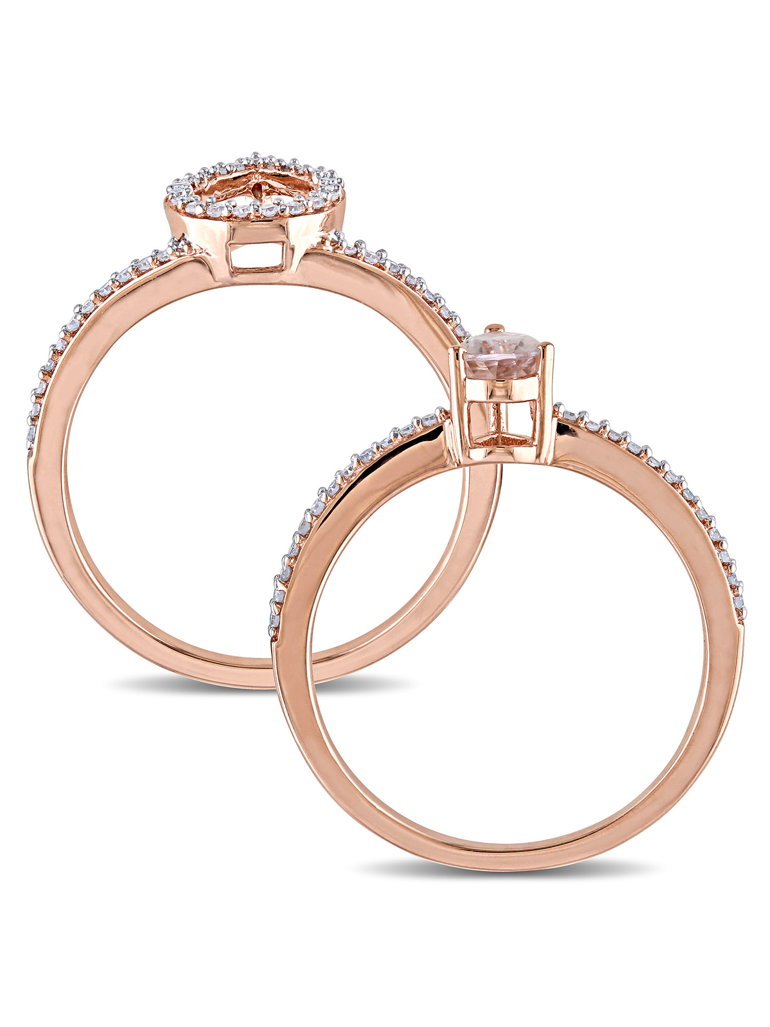 3/8 Carat T.G.W. Morganite and 1/3 Carat T.W. Diamond 10kt Rose Gold Interlocking Halo Bridal Set