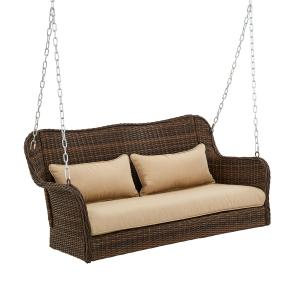 Better Homes & Gardens Camrose Farmhouse Wicker Outdoor Porch Swing – Dark Brown