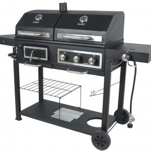 RevoAce Dual Fuel Gas & Charcoal Combo Grill, Black with Stainless