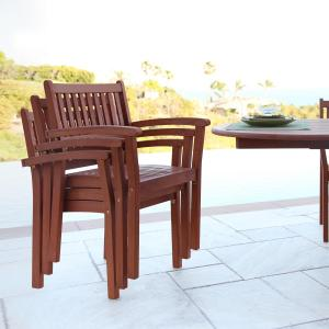 Set of 4 Stacking Eucalyptus Wood Dining Chair