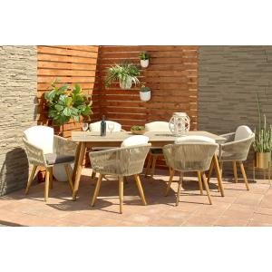 DecMode Large Rectangular Concrete Outdoor Dining Table w/ Wooden Mid-Century Legs, 78.5″ x 30″