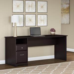 Bush Furniture Cabot 72W Computer Desk with Drawers Brown