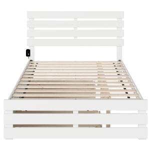 Oxford Full Bed with Footboard and USB Turbo Charger with Twin Trundle in White