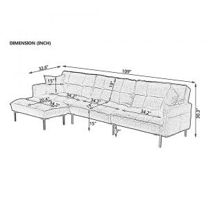 Sectional Sofa Set Wooden Frame Metal Legs Lounging Chair Reversible Ottoman for Living Room