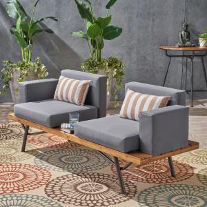 Salma Outdoor Acacia Wood 2 Seater Sofa, Teak, Dark Gray